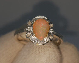 Natural Fire Opal 19.60 Carats 925 Silver Ring N05
