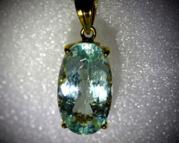Aquamarine 13.37ct Solid 18K Yellow Gold Pendant