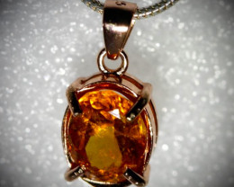 Hessonite 1.85ct Rose Gold Finish Solid 925 Sterling Silver Pendant