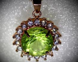 Peridot Ludwigite 3.60ct Rose Gold Finish Solid 925 Sterling Silver Pendant