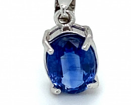 Kyanite 1.55ct White Gold Finish Solid 925 Sterling Silver Pendant
