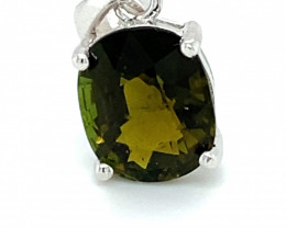 Green Tourmaline 3.20ct Platinum Finish Solid 925 Sterling Silver Pendant