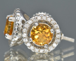 Natural Citrine, CZ and 925 Silver Ear Studs
