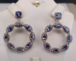 Natural Tanzanite with CZ Earring.