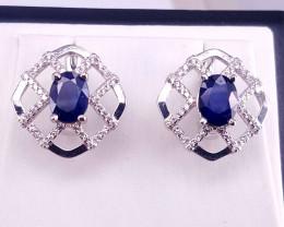 Natural Sapphire with CZ Earring.