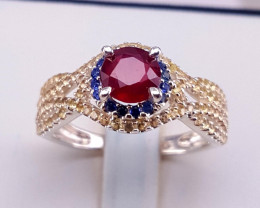 Beautiful Natural Ruby and Sapphire Ring.