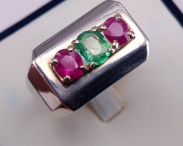 Natural Emerlad and Ruby Ring.