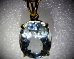 Aquamarine 6.49ct Solid 22K Yellow Gold Pendant