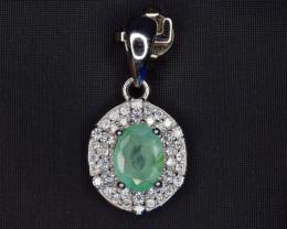 Natural Emerald , CZ and 925 Silver Pendant, Elegant Design