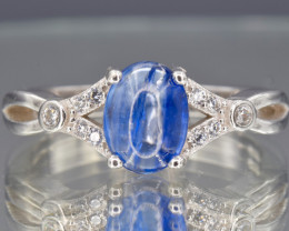 Natural Blue Kyanite, CZ and 925 Silver Ring
