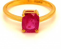 Burmese Ruby 1.92ct Solid 22K Yellow Gold Ring Untreated