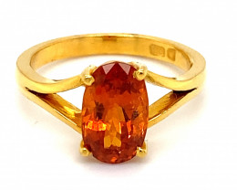 Spessartine 3.50ct Solid 22K Yellow Gold Ring