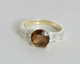 18.00 Carats very rare axinite 925 Silver Ring , 8x8x3mm.