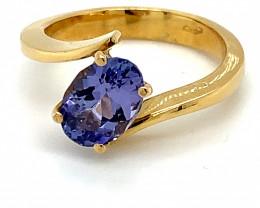 Tanzanite 2.14ct Solid 18K Yellow Gold ring