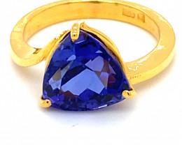 Tanzanite 7.02ct Solid 22K Yellow Gold Ring