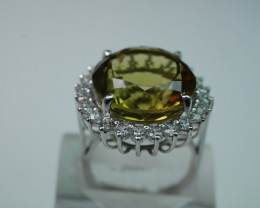 NATURAL LEMON ROUND SHAPE  92.5 STERLING RING  ( 9.00 US )