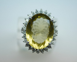 NATURAL LEMON OVAL  SHAPE 92.5 STERLING RING ( 9.25 US )