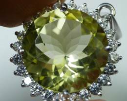 NATURAL LEMON QUARTZ 92.5 SOLID SILVER STERLING PENDANT