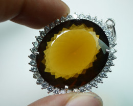 NATURAL  HONEY  QUARTZ 92.5 SOLID SILVER STERLING PENDANT