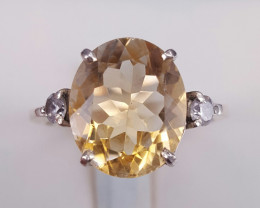Natural citrine and small CZ  Ring