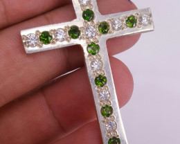 Natural chrome diopside and CZ Pendant