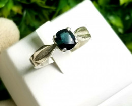 Natural Heated Sapphire In 18K Silver Ring For Men.
