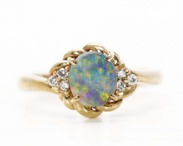 18K GOLD SEMI BLACK OPAL AND DIAMONDS RING [JR14]