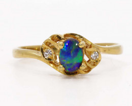 18K GOLD BLACK OPAL AND DIAMONDS RING [JR15]