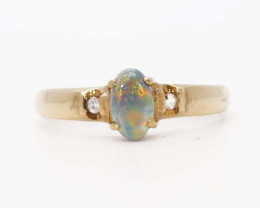 18K GOLD BLACK OPAL AND DIAMONDS RING [JR16]