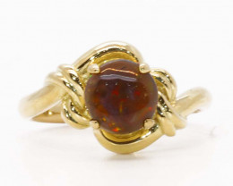 18K GOLD BLACK OPAL  RING [JR17]