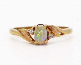 18K GOLD SEMI CRYSTAL OPAL AND DIAMONDS RING [JR18]