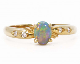 18K GOLD SEMI CRYSTAL OPAL AND DIAMONDS RING [JR19]
