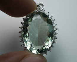 NATURAL  AMECHURIAN QUARTZ 92.5 SOLID SILVER STERLING PENDANT