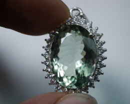 NATURAL GREEN AMETHYST QUARTZ 92.5 SOLID SILVER STERLING PENDANT