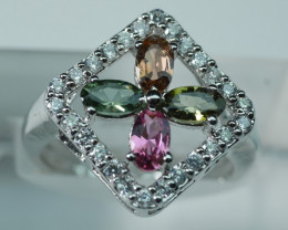 NATURAL MULTY COLOR TOURMALINE 92.5 STERLING SILVER RING .(7.25 US)