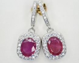 Natural Ruby , CZ and 925 Silver Earring, Elegant Design