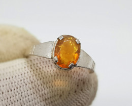 Natural Faceted Fire Opal 6.65 Carats 925 Silver Ring N06