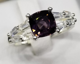 Natural Spinel with CZ in silver 925 Silver Ring.