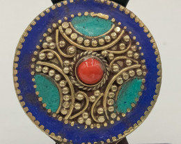 92.65 Crt Turquoise And Lapis Lazuli Nepali Pendent Brass Material