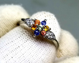 9ct Multicolor Sapphires in 925 Sterling Silver Ring .