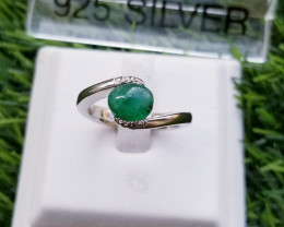 24.30ct Natural Emerald Cabochon in 925 Sterling Silver Ring.