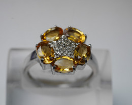 BEAUTY CITRINE OVAL SHAPE 92.5 SOLID SILVER RING SIZE ( 8 US )