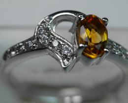 BEAUTY CITRINE OVAL SHAPE 92.5 SOLID SILVER RING SIZE ( 6.50 US )