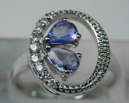 BEAUTY TANZANITE PEAR SHAPE 92.5 SOLID SILVER RING SIZE ( 8 US )