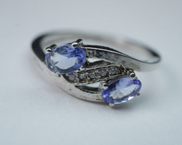 BEAUTY TANZANITE OVAL SHAPE 92.5 SOLID SILVER RING SIZE ( 8 US )