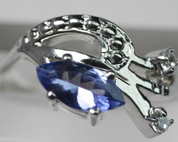 NATURAL TANZANITE   92.5 STERLING RING ( 7.50 US  )
