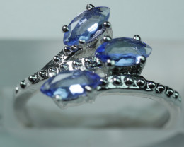 NATURAL TANZANITE  MARQUISE SHAPE 92.5 STERLING RING ((7.00)