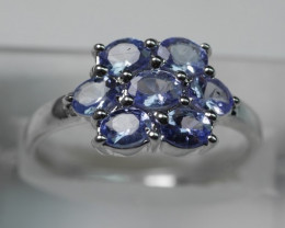 NATURAL  TANZANITE OVAL  SHAPE 92.5 SOLID SILVER RING SIZE ( 8.25   US )