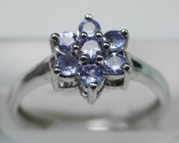 NATURAL TANZANITE ROUND  SHAPE 92.5 SOLID SILVER RING SIZE ( 6.50 US )