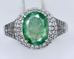 24.11 Crt Natural Emerald  With Cubic Zirconia 925 Silver Ring